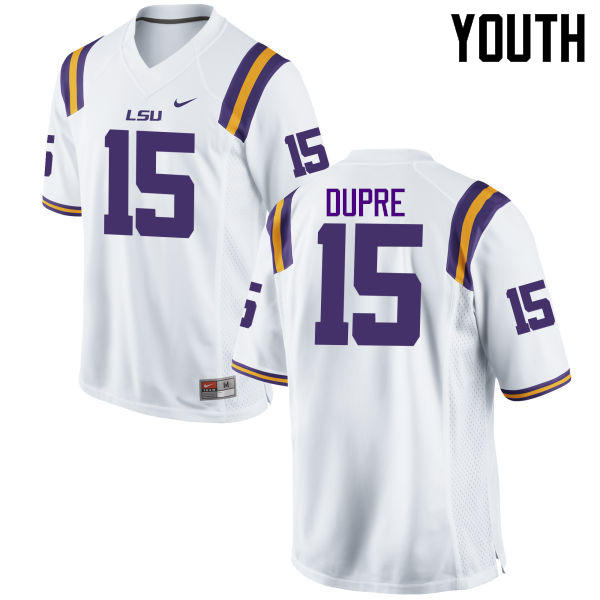 Youth LSU Tigers #15 Malachi Dupre College Football Jerseys Game-White